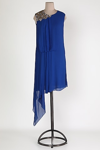 Cobalt Blue Embellished Asymmetric Tunic by Sadan Pande