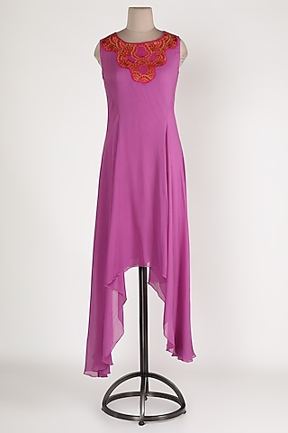Pink Embellished Asymmetric Tunic by Sadan Pande