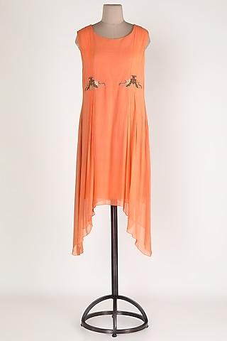 Peach Embellished Asymmetric Tunic by Sadan Pande