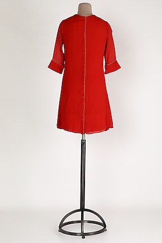 Red Patchwork Embellished Tunic by Sadan Pande