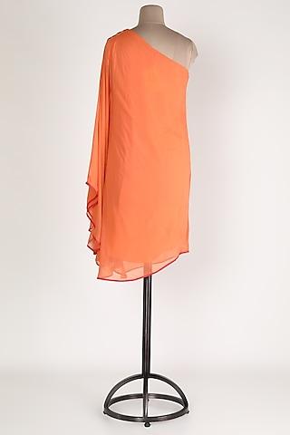 Peach One Shoulder Tunic by Sadan Pande