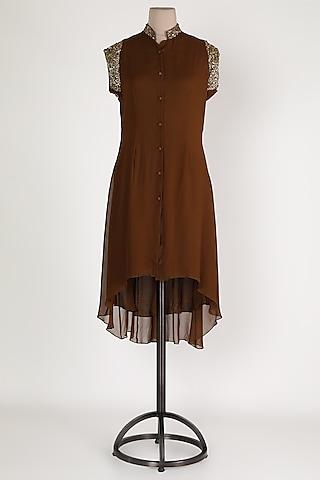 Brown Embellished High-Low Tunic by Sadan Pande