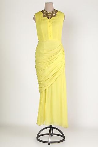 Yellow Embellished Maxi Tunic by Sadan Pande