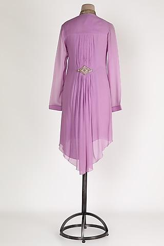 Mauve Embellished High-Low Tunic by Sadan Pande