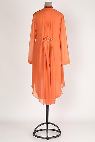 Orange Embellished High-Low Tunic by Sadan Pande
