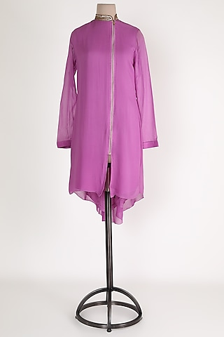 Purple Embellished High-Low Tunic by Sadan Pande
