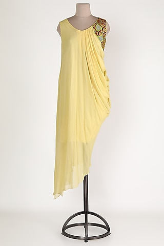 Yellow Embroidered Asymmetric Tunic by Sadan Pande