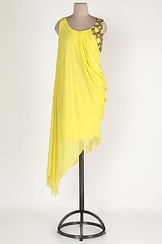 Lemon Embroidered Asymmetric Tunic by Sadan Pande