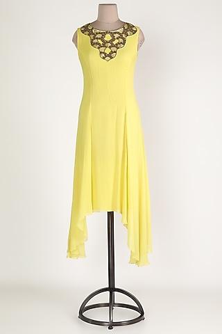 Lemon Embroidered High-Low Tunic by Sadan Pande