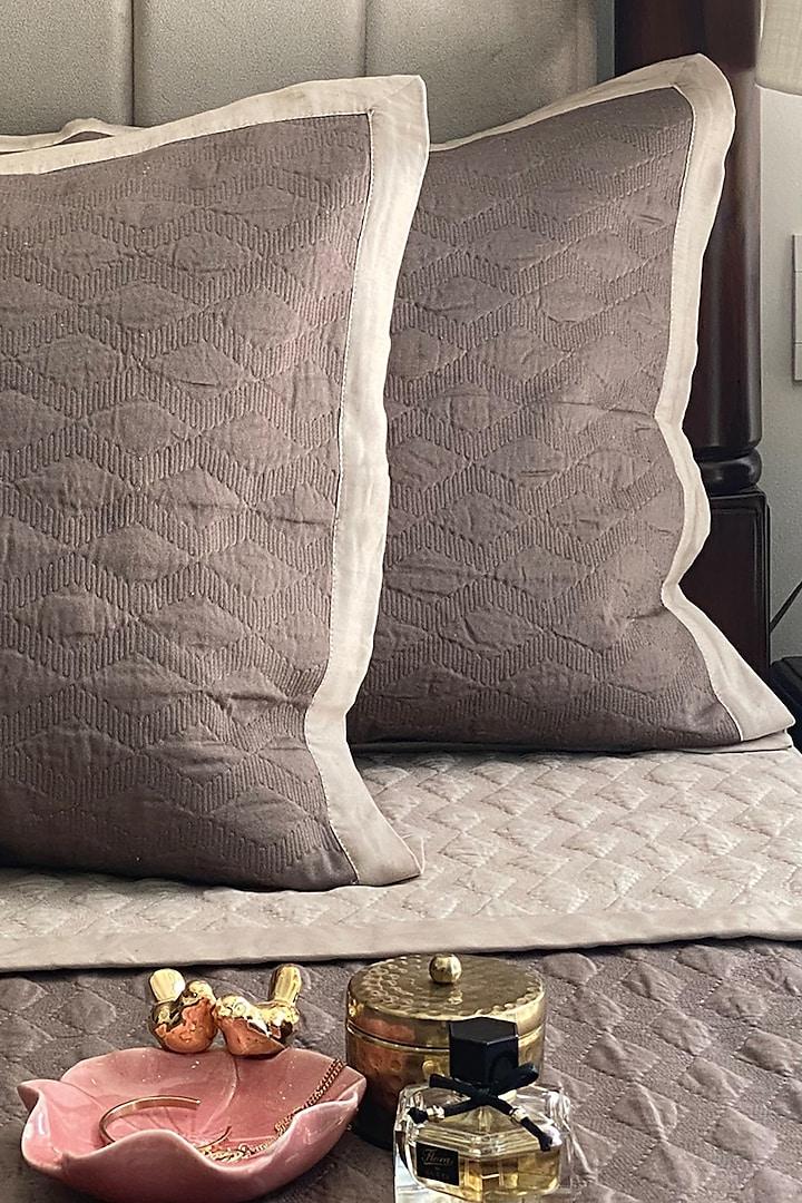 Beige Cotton Reversible Bedspread Set (Set of 3) by SADYASKA