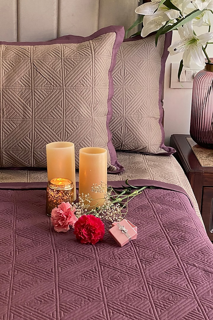 Mauve Cotton Reversible Bedspread Set (Set of 3) by SADYASKA