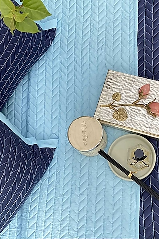 Sky Blue Cotton Quilted Bedspread Set (Set of 3) by SADYASKA