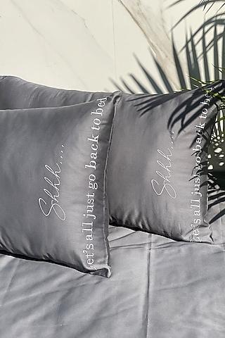 Dark Grey Cotton Bedsheet Set by SADYASKA