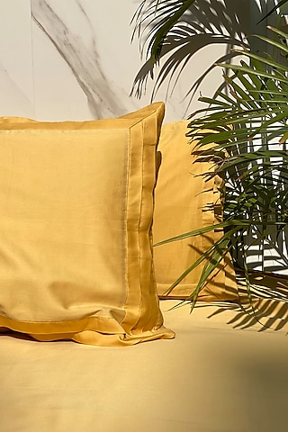 Buttercup Yellow Cotton Bedsheet Set (Set of 3) by SADYASKA