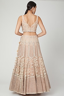 Peach Sequins Embroidered Lehenga Set by Shilpi Ahuja