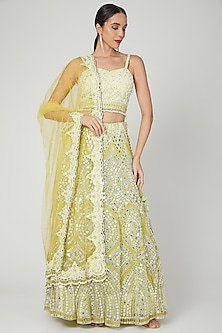 Lime Yellow Embroidered Lehenga Set by Shilpi Ahuja