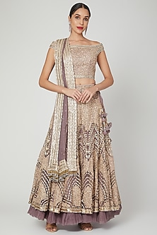 Mauve Embroidered Lehenga Set by Shilpi Ahuja