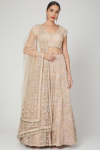 Peach Embroidered Lehenga Set by Shilpi Ahuja