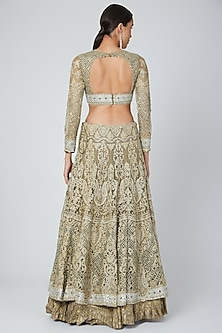 Nude Embroidered Lehenga Set by Shilpi Ahuja