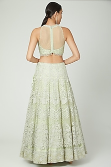 Lime Green Embroidered Lehenga Set by Shilpi Ahuja