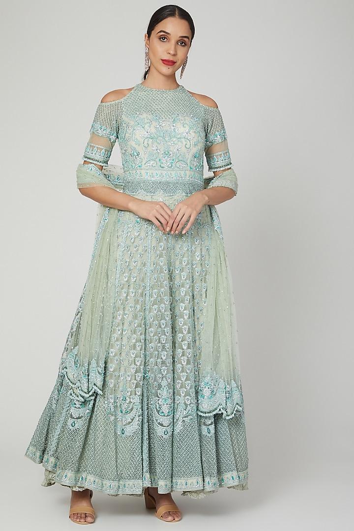 Mint Green Anarkali With Dupatta by Shilpi Ahuja