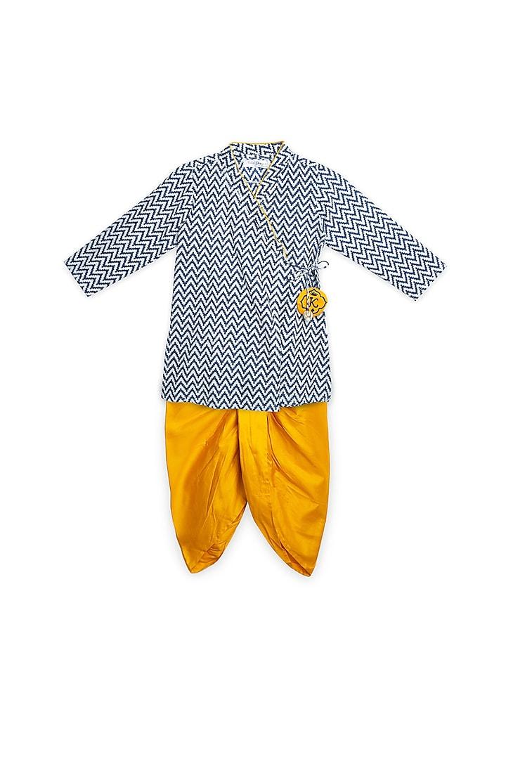 Blue & Mustard Cotton Kurta Set by Saka Designs