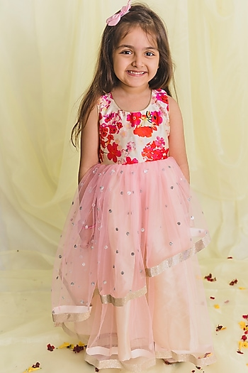 Baby Pink Floral Printed Gown by Saka Designs