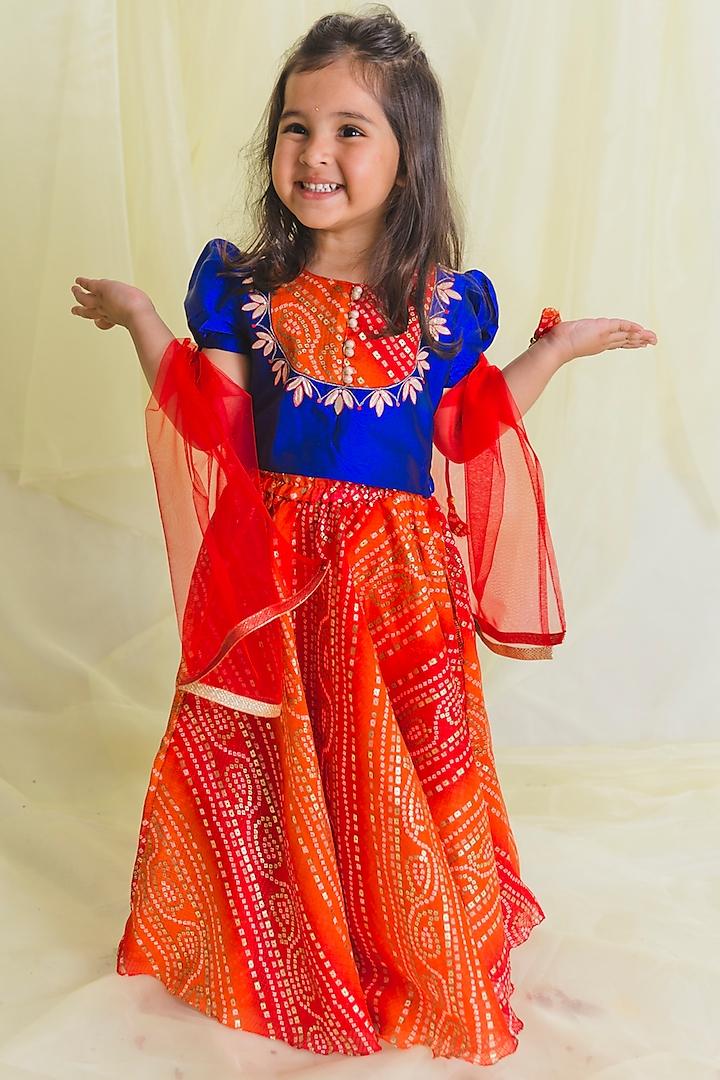 Orange Hand Embroidered Bandhani Lehenga Set by Saka Designs