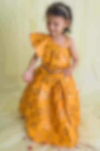 Mustard Jacquard Silk Lehenga Set by Saka Designs