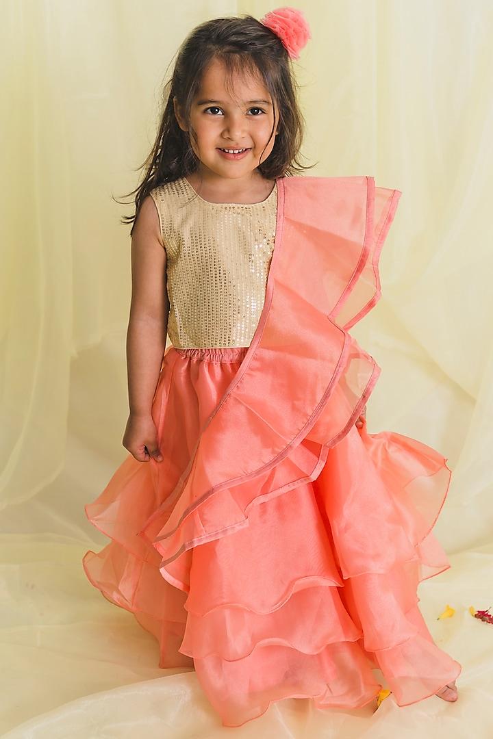 Peach Flounced Lehenga Set by Saka Designs