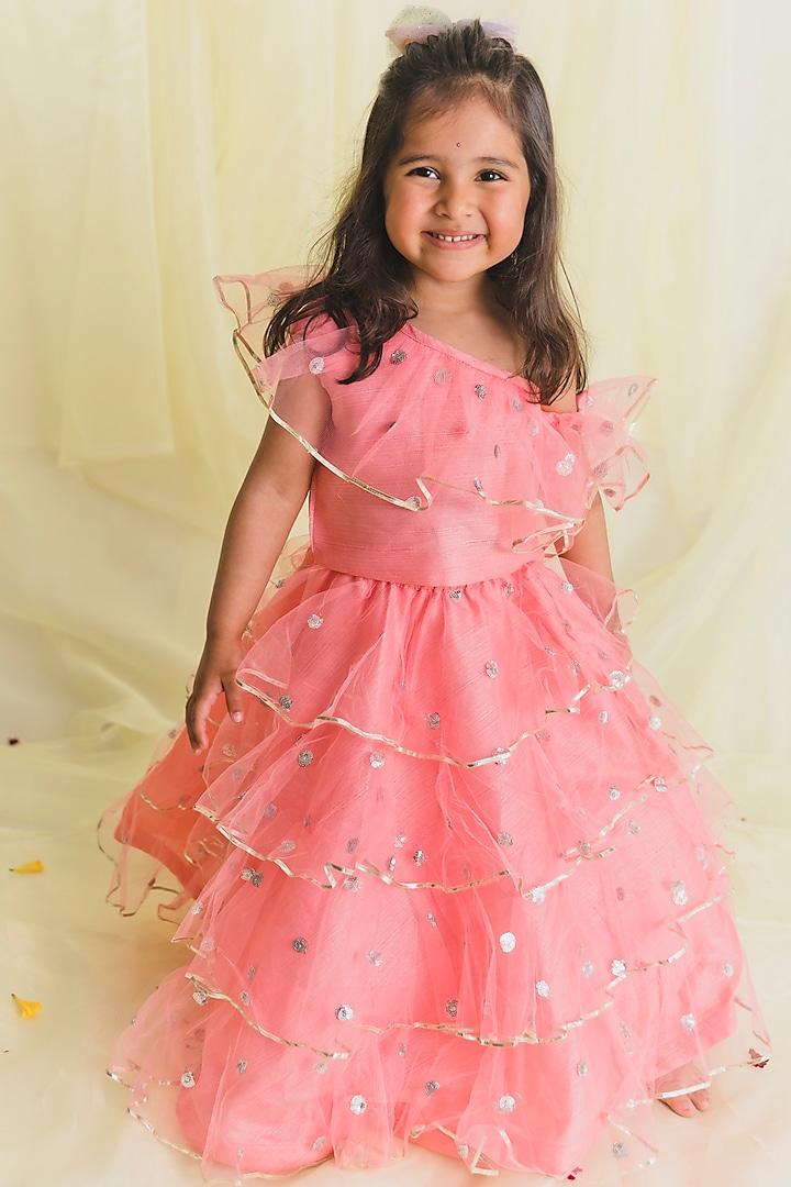 Pink Ruffled Lehenga Set by Saka Designs