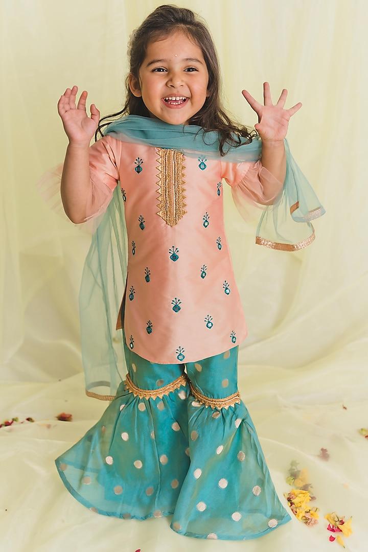 Peach & Blue Embroidered Sharara Set by Saka Designs