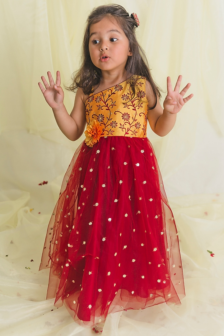 Maroon & Mustard Embroidered Gown by Saka Designs