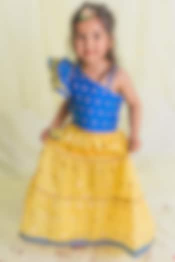 Yellow Tiered Lehenga Set by Saka Designs