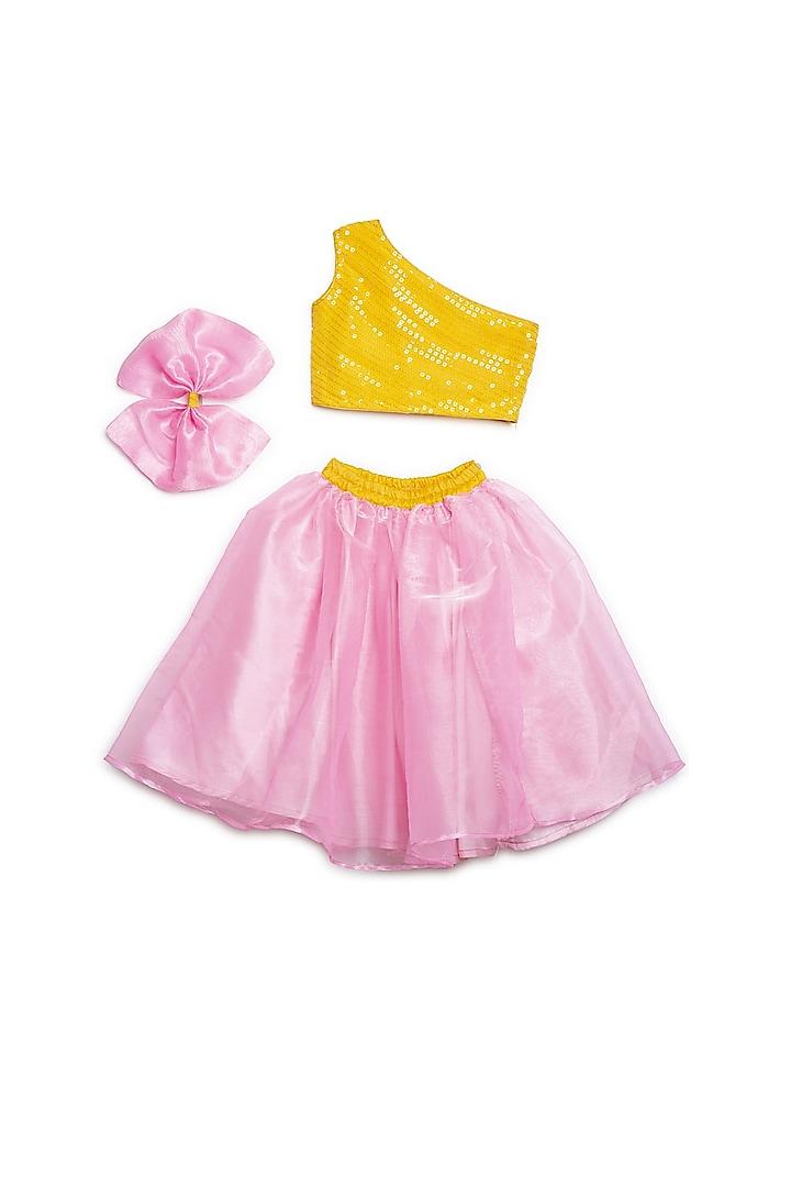 Yellow Georgette Lehenga Set by Saka Designs