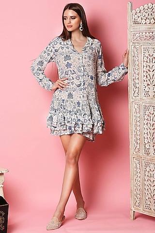 Ivory & Light Blue Printed Shirt Dress by Sakshi Girri