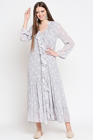Lavender Floral Printed Maxi Dress by Sakshi Girri