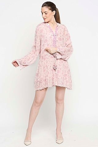 Blush Pink Floral Printed Laced-up Dress by Sakshi Girri