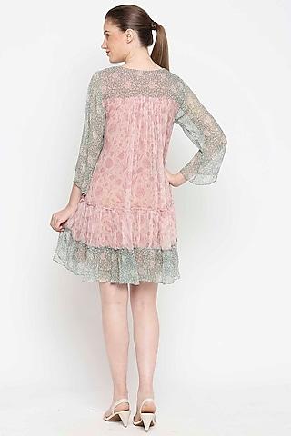 Pink & Green Embroidered Flared Dress by Sakshi Girri
