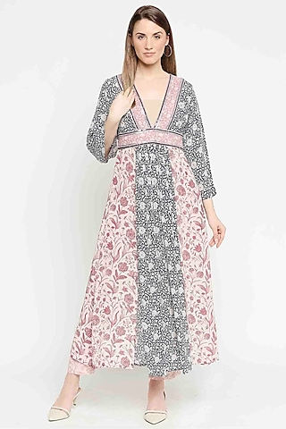 Navy Blue & Rust Pink Embroidered Tunic Set by Sakshi Girri