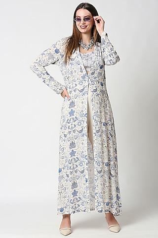 Cobalt Blue & Ivory Printed Jacket Set by Sakshi Girri