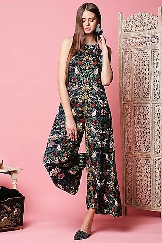 Black Embellished Jumpsuit by Sakshi Girri