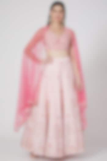 Blush Pink Sequins Hand Embroidered Lehenga Set by Salt and Spring