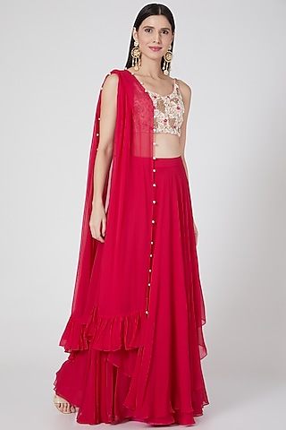 Hot Pink Lehenga Set With Hand Embroidered Blouse by Salt and Spring