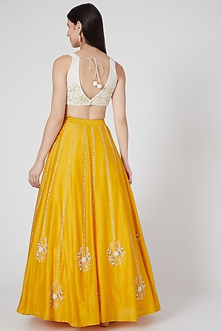 Yellow Hand Embroidered Lehenga Set by Salt and Spring