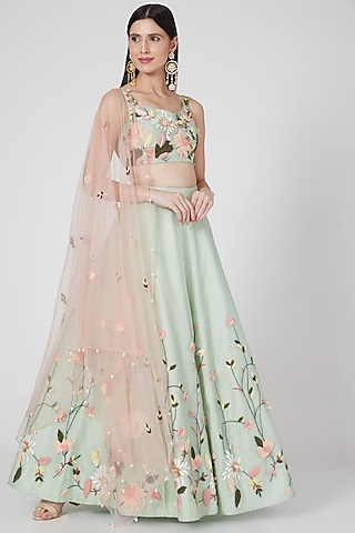 Sea Green Floral Embroidered Lehenga Set by Salt and Spring