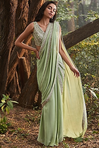 Mint Green Hand Embroidered Pre-Stitched Saree Set by Sana Barreja
