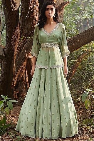 Mint Green Hand Embroidered Lehenga Set by Sana Barreja
