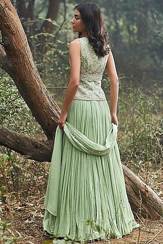 Mint Green Hand Embroidered Lehenga Set With Belt by Sana Barreja