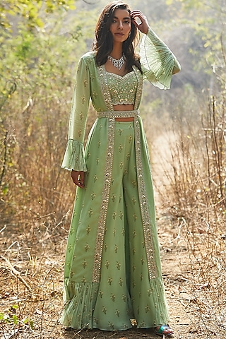 Mint Green Hand Embroidered Sharara Set by Sana Barreja